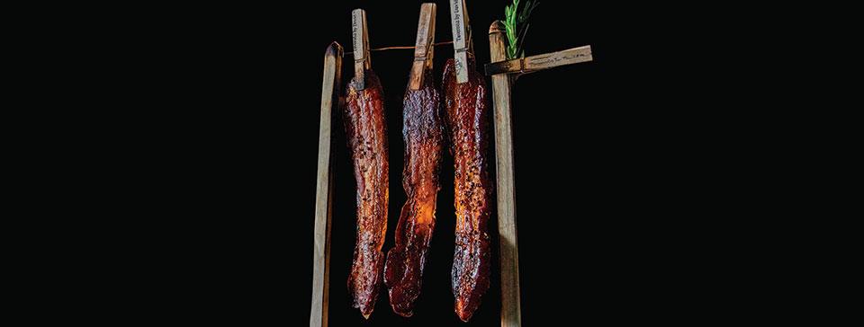 David Burke Roadshow's bacon-on-a-clothesline