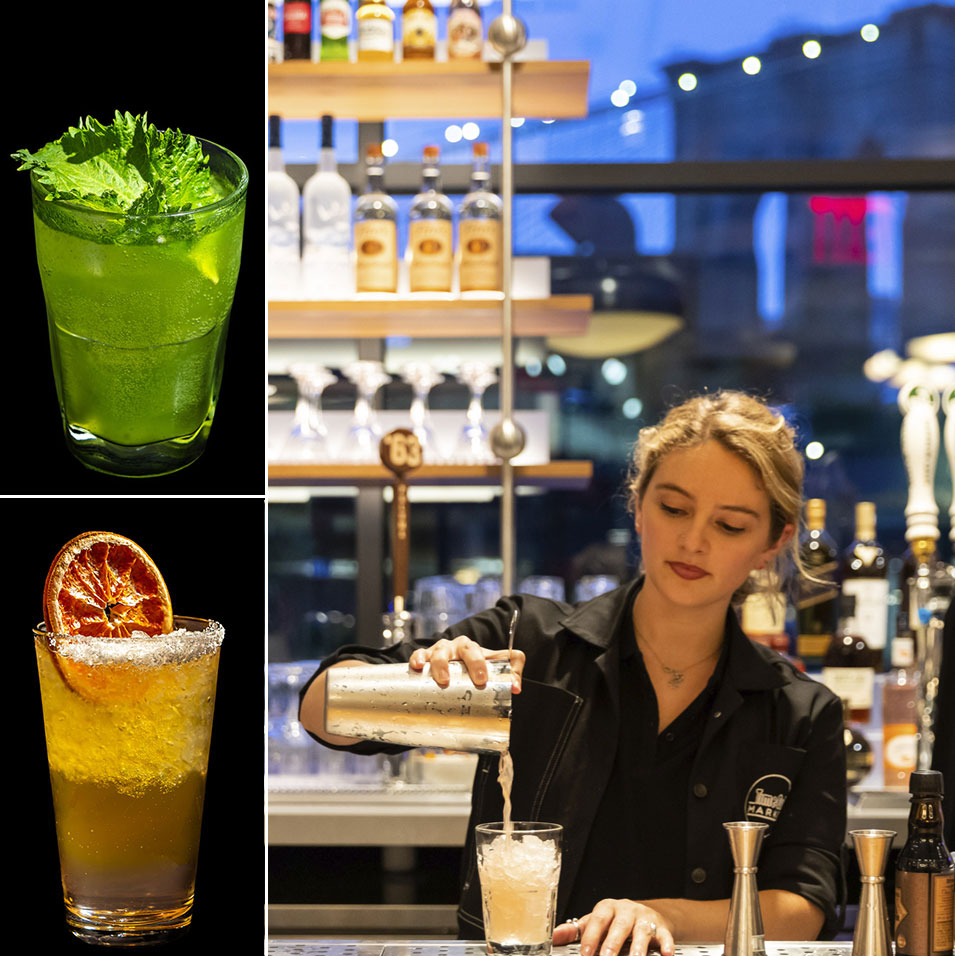Two light spirit cocktails and a female bartender pouring a mixed drink