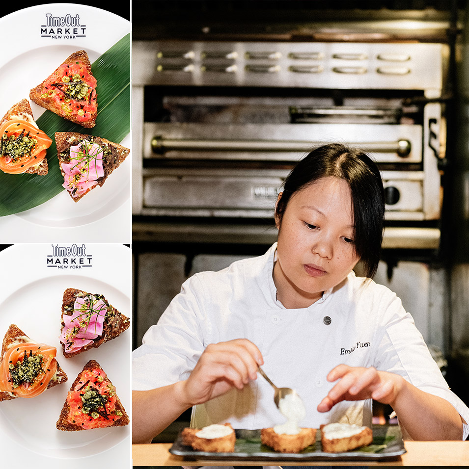 Chef Emily Yuen with raw fish offerings by Bessou atop fried rice cake