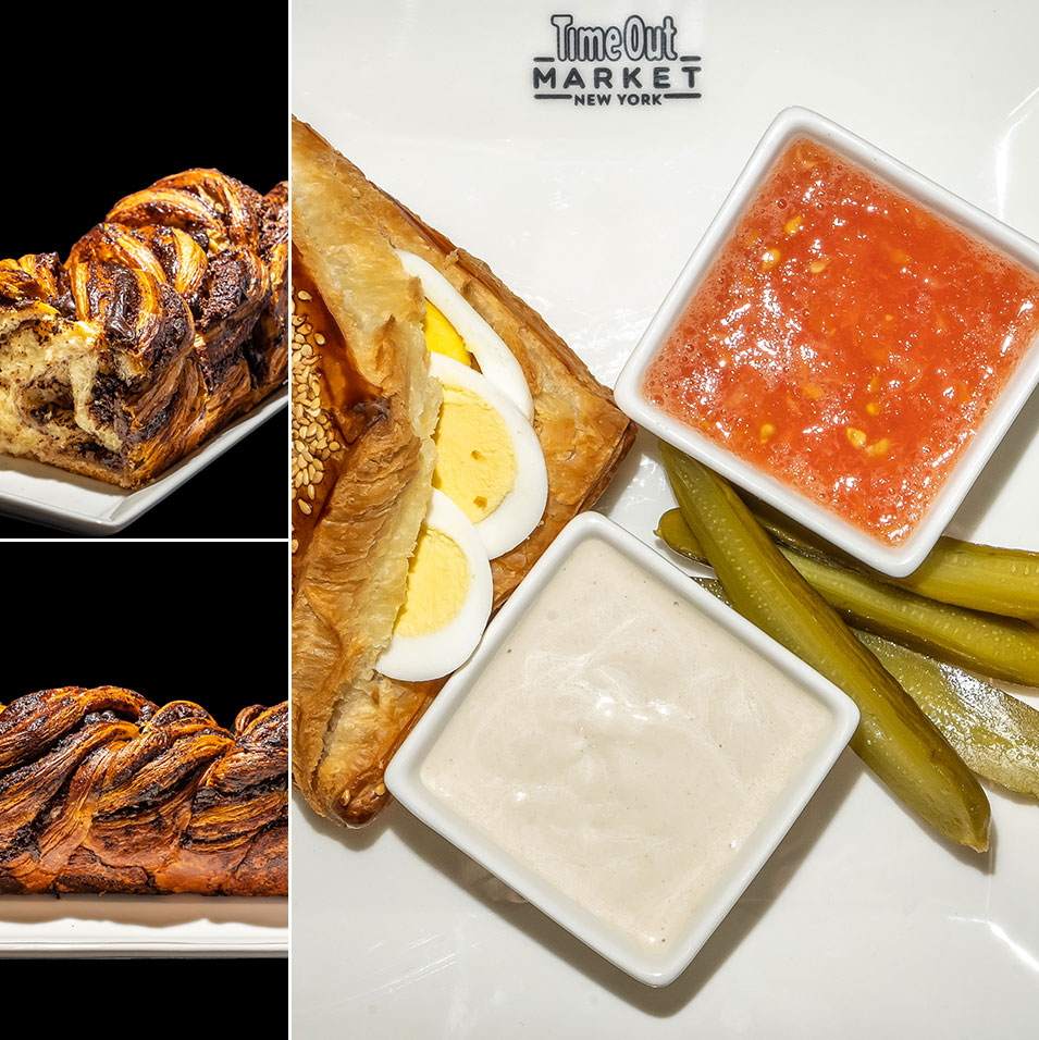Breads Bakery world-famous babka and Bureka platter with hard-boiled egg, tahini and pickles