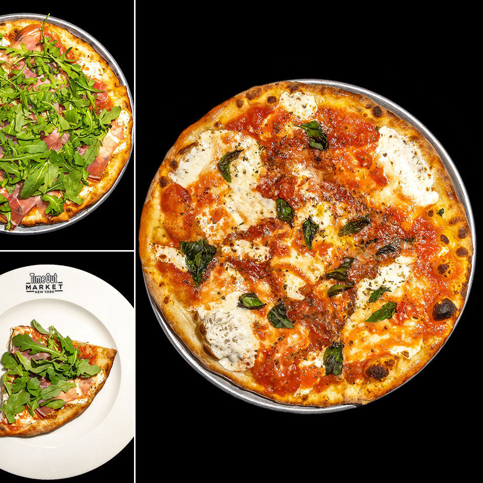 Juliana's margherita pizza and a pie topped with arugula