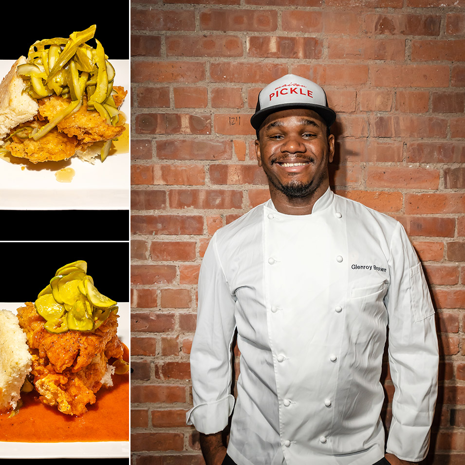 Chef Glenroy Brown and two chicken sandwiches of Jacob's Pickles