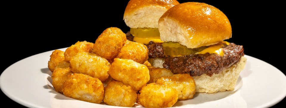Sliders and tots by Pat LaFrieda Meat Purveyors