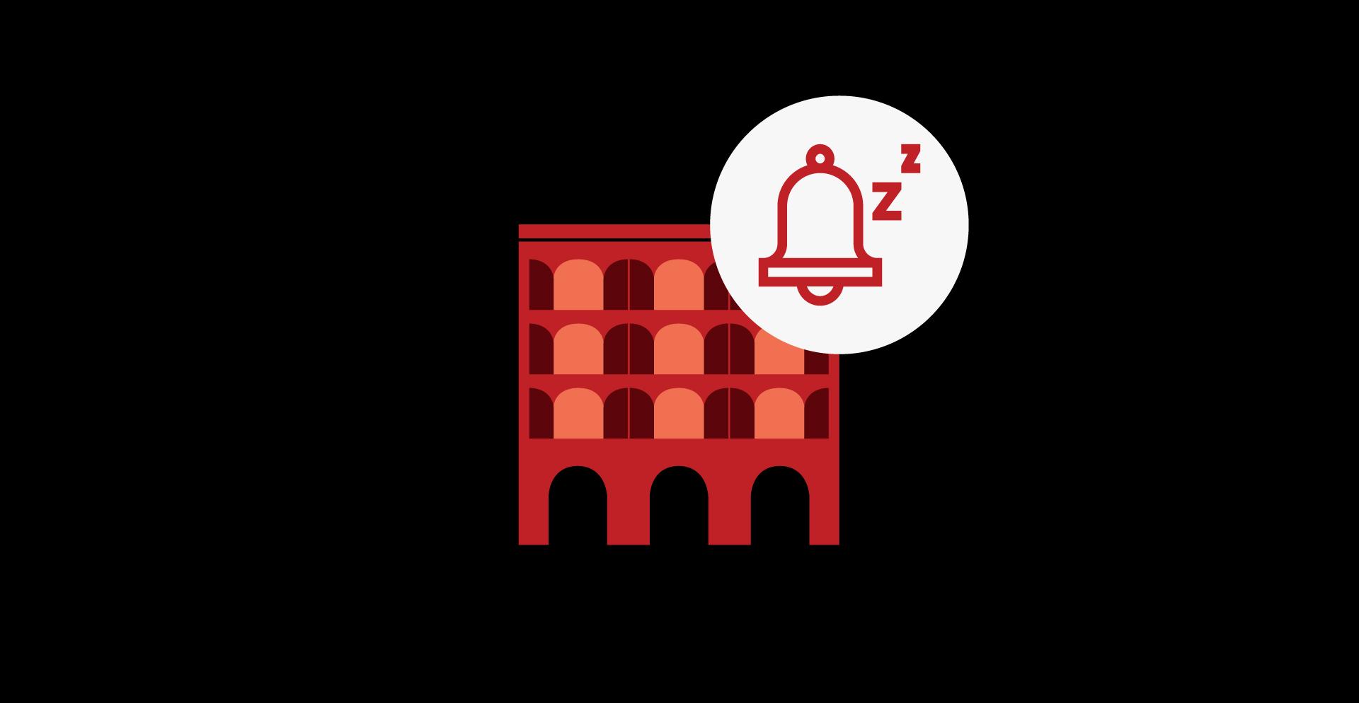 Market icon with alarm clock snooze icon