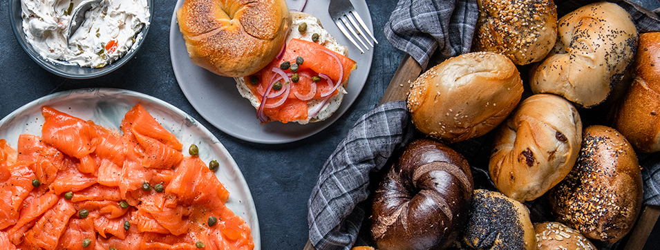 bagels, cream cheese and lox